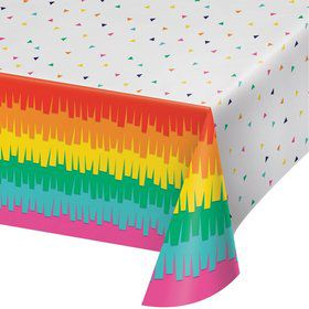 "Fiesta Fun Plastic Tablecover 54"" x 102"" (1)"