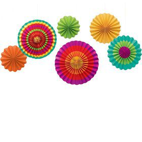 Fiesta Paper Fan Hanging Decorations (6 Pack)