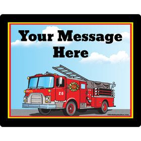Fire Truck Personalized Rectangular Stickers (Sheet of 15)