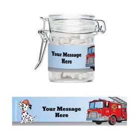 Fire Truck Personalized Swing Top Apothecary Jars (12 ct)