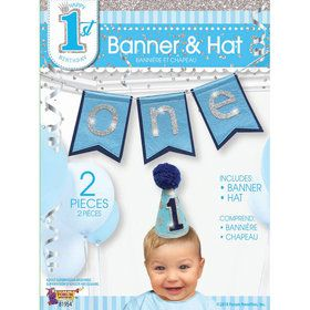 First Birthday Boy Banner & Hat Set