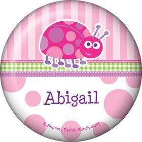 First Birthday Ladybug Personalized Button (each)