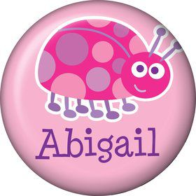 First Birthday Ladybug Personalized Mini Button (each)