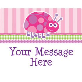 First Birthday Ladybug Personalized Rectangular Stickers (Sheet of 15)