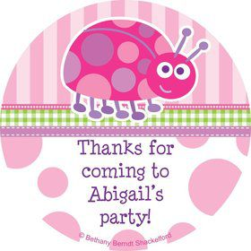 First Birthday Ladybug Personalized Sticker