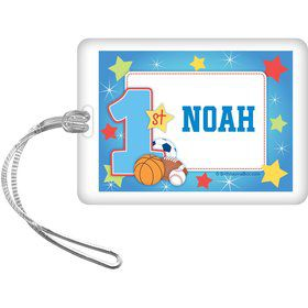 First Birthday Sport Star Personalized Bag Tag (each)