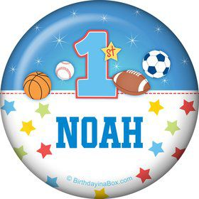First Birthday Sport Star Personalized Button (each)