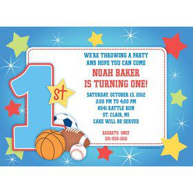 First Birthday Sport Star Personalized Invitation (each)