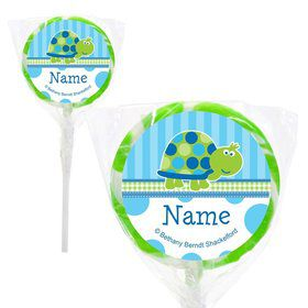 "First Birthday Turtle Personalized 2"" Lollipops (20 Pack)"