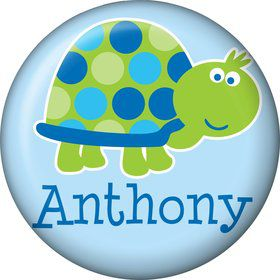 First Birthday Turtle Personalized Mini Button (each)