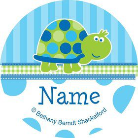 First Birthday Turtle Personalized Mini Stickers (Sheet of 24)
