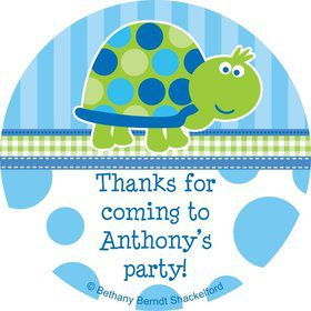 First Birthday Turtle Personalized Sticker