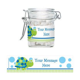 First Birthday Turtle Personalized Swing Top Apothecary Jars (12 ct)