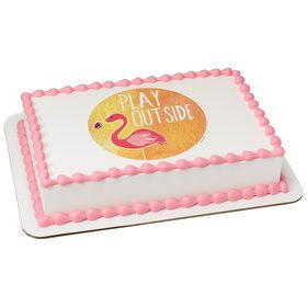 Flamingo Quarter Sheet Edible Cake Topper (Each)