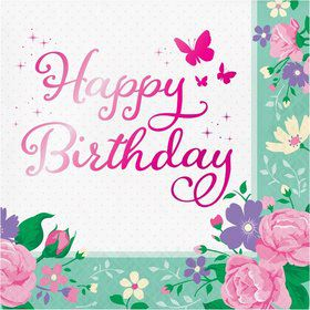 Floral Fairy Happy Birthday Lunch Napkin (16)