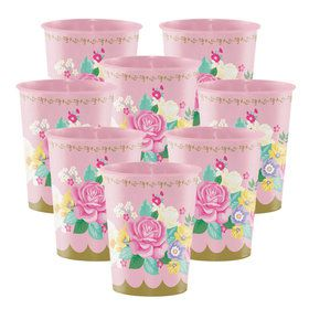 Floral Tea Party 16oz Plastic Favor Cups (8 Count)
