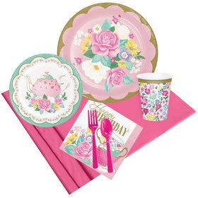 Floral Tea Party Happy Birthday Party Pack (8 Count)