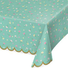 "Floral Tea Party Plastic Tablecover 54"" x 102"" (1)"