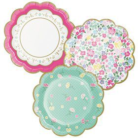 Floral Tea Party Scalloped Dessert Plate (8)