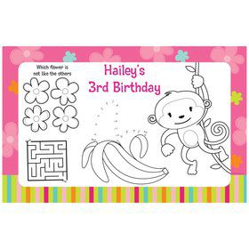 Flower Monkey Personalized Activity Mats (8 pack)