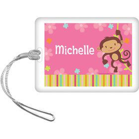 Flower Monkey Personalized Bag Tag (each)
