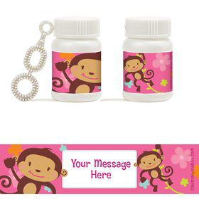 Flower Monkey Personalized Bubbles (18 Pack)