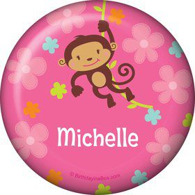 Flower Monkey Personalized Button (each)
