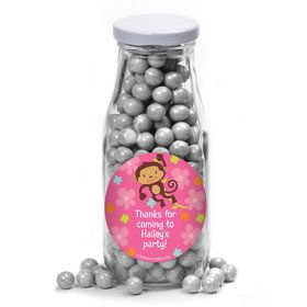 Flower Monkey Personalized Glass Milk Bottles (12 Count)