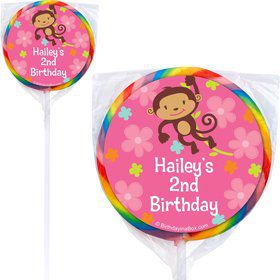 Flower Monkey Personalized Lollipops (pack of 12)