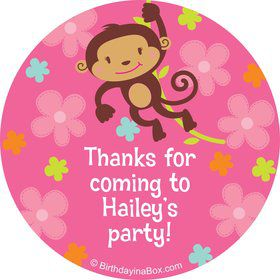Flower Monkey Personalized Stickers (sheet of 12)