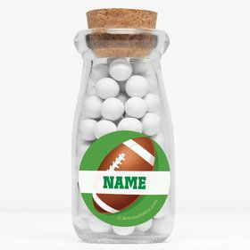 """Football Party Personalized 4"""" Glass Milk Jars (Set of 12)"""