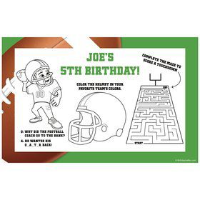 Football Party Personalized Activity Mat (8 pack)