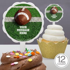 Football Personalized Cupcake Picks (12 Count)