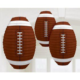 """Football Shaped 12"""" Paper Lantern Decorations (3 Pack)"""