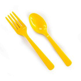 Forks Spoons - Bright Yellow