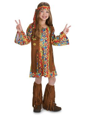 Fringe 60's Hippie Child Costume Treat Safety Kit