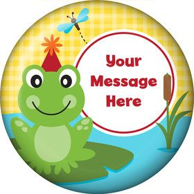 Frog Pond Fun Personalized Button (Each)