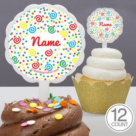 Frosted Cake Personalized Cupcake Picks (12 Count)