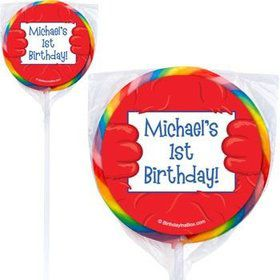 Fuzzy Friends 1st Birthday Personalized Lollipops (pack of 12)