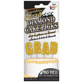 G-R-A-D Gold Diamond Glitter Cake Topper