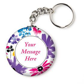 "Garden Blooms Personalized 2.25"" Key Chain (Each)"