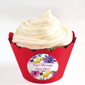 Garden Blooms Personalized Cupcake Wrappers (Set of 24)