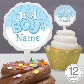Gender Reveal: It's a Boy Personalized Cupcake Picks (12 Count)