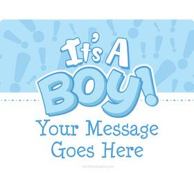 Gender Reveal: It's a Boy Personalized Rectangular Stickers (Sheet of 15)