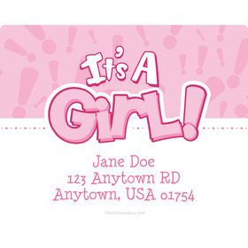 Gender Reveal: It's a Girl Personalized Address Labels (Sheet of 15)