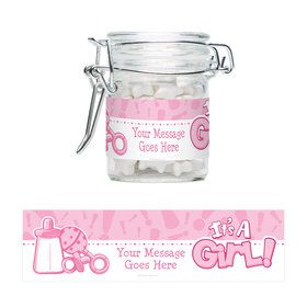 Gender Reveal: It's a Girl Personalized Glass Apothecary Jars (12 Count)
