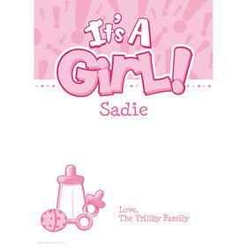 Gender Reveal: It's a Girl Personalized Thank You (Each)