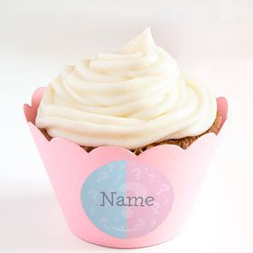 Gender Reveal Personalized Cupcake Wrappers (Set of 24)