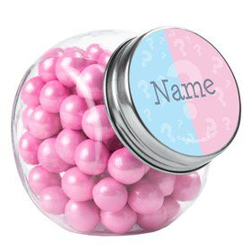 Gender Reveal Personalized Plain Glass Jars (10 Count)