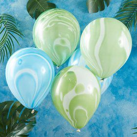 "Ginger Ray 12"" Green & Blue Marble Latex Balloons (10)"